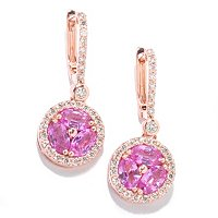 14K Rose gold PINK SAPPHIRE Earrings