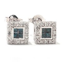 14K .50ctw FANCY COLOR INVISIBLE SET STUD EARRINGS