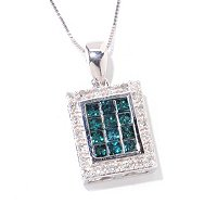 14K 1ctw FANCY COLOR INVISIBE SET PENDANT w/CHAIN