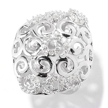 122-138 - Diamond Treasures Sterling Silver 0.25ctw Diamond Swirl Design Ring