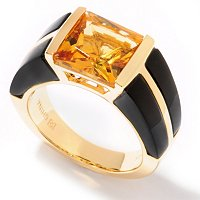 SS/P RING PRINCESS-CUT CITRINE & ONYX