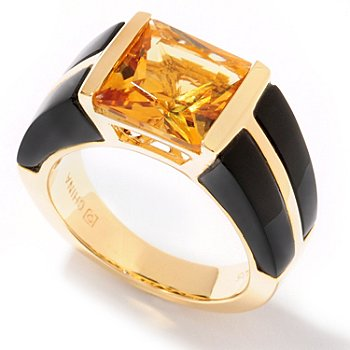 122-160 - Omar Torres 7.05ctw Princess Cut Citrine & Onyx Ring