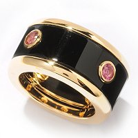 SS/P RING BLACK ONYX & PINK TOURMALINE ETERNITY BAND