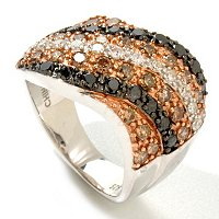 SS BLACK MOCHA & WHITE DIAMOND RING