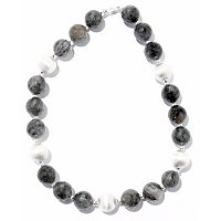 SS FACETED GREY QUARTZ AND SATIN BEAD NECKLACE