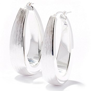 122-189 - SempreSilver™ Sterling Silver Electroform Elongated Hoop Earrings
