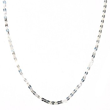 122-191 - SempreSilver&™ 60'' Polished Hammered Disk Necklace