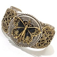 TWO TONE & BLACK ENAMEL BUTTERFLY CUFF