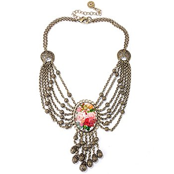 122-222 - Sweet Romance™ Gold-tone 16'' Heirloom Roses Swag Necklace w/ Extender