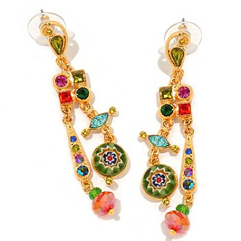 122-230 - Sweet Romance™ Gold-tone Multi Color Candy Glass Dangle Earrings
