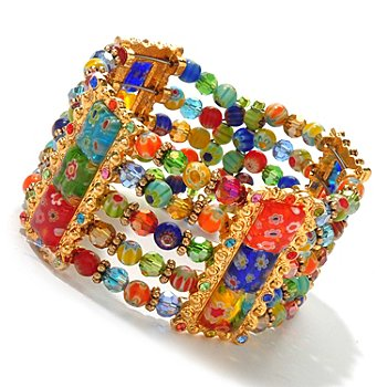 122-231 - Sweet Romance™ Gold-tone 7'' Multi Color Glass Candy Bead Cuff Bracelet