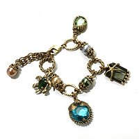 GOLDTONE BLUE/GREEN BEACHCOMBER BRACELET