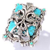 SILVERTONE FRENCH FLEUR DU LIS ON BLUE GLASS RING