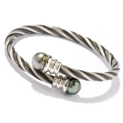 "122-246 - Stainless Steel 7.25"" 10-11mm Tahitian Cultured Pearl Wrap Bracelet"