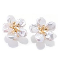14K YG 8-9mm WHITE KESHI & DIAMOND ACCENT OMEGA BACK EARRINGS