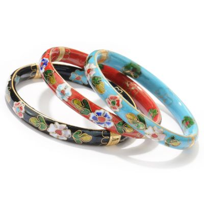 "122-254 - Set of Three 7.5"" Cloisonne Hinged Bangle Bracelets"