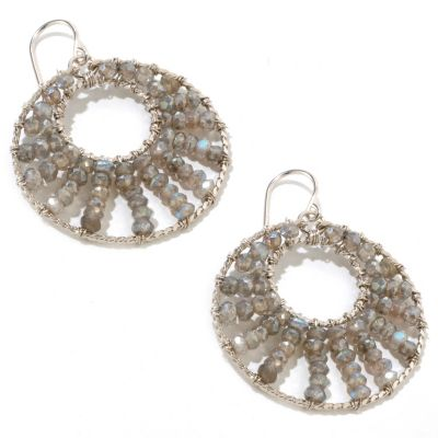 122-260 - Sterling Silver Gemstone Circle Earrings