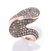 14K RG MOCHA DIAMOND WAVE RING