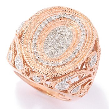 122-269 - Southport Diamonds Gold Embraced™ Sterling Silver 0.50ctw Diamond Paisley Beadwork Ring