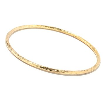 122-276 - Southport Diamonds Sterling Silver & 14K Vermeil 8.5'' Textured Bangle Bracelet