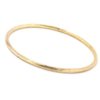 "122-276 - Southport Diamonds Sterling Silver & 14K Vermeil 8.5"" Textured Bangle Bracelet"