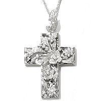 "SB SS/CHOICE ROUND CUT FLOWER AND LEAF CROSS PENDANT W/ 18"" CHAIN"