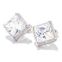 BLTA SS/PLAT SQUARE HALO STUD EARRINGS