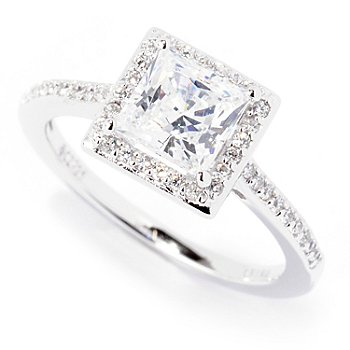 122-289 - Brilliante® Platinum Embraced™ Prong Solitaire Halo Ring