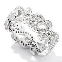 BLTA SS/PLAT ROUND CUT SWIRL AND LEAF ETERNITY BAND