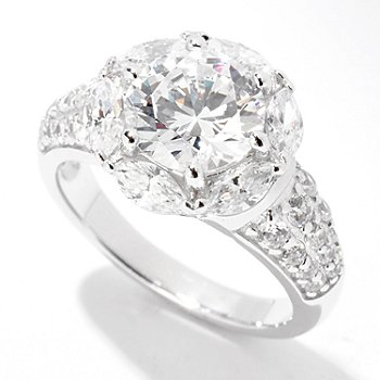 122-296 - Brilliante® Platinum Embraced™ 3.39 DEW Round & Marquise Flower Ring