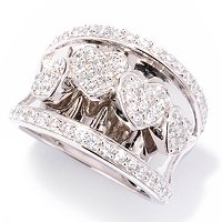 SB SS/CHOICE PAVE FOUR OVERLAPPING HEARTS CONCAVE RING