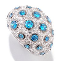 SB SS/PLAT DOMED PAVE/SCATTERED BEZEL SIMLTD COLORS OF PARAIBA TOURMALINE RING