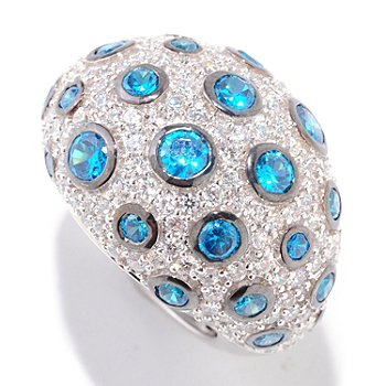 122-314 - Sonia Bitton for Brilliante® Platinum Embraced™ Simulated Paraiba Tourmaline Ring