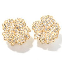 SB SS/PLAT ROUND CUT LOTUS FLOWER EARRINGS