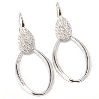 SB SS/CHOICE OVAL PAVE STATION FORWARD FACING DROP EARRINGS