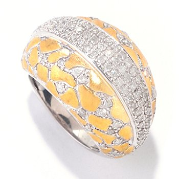 122-333 - Southport Diamonds Gold Embraced™ Sterling Silver 1.00ctw Diamond ''Leopard Spot'' Dome Ring