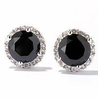 SS LARGE BLK SPINEL WITH WHITE TOPAZ