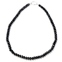 SS FANCY LOCK BLK SPINEL NECKLACE 20""