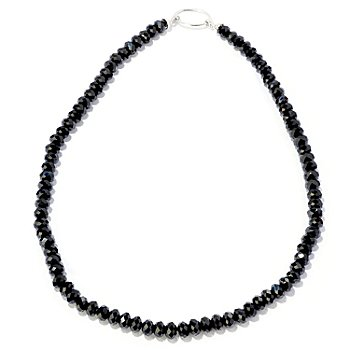 122-336 - Gem Treasures Sterling Silver 20'' Black Spinel Necklace