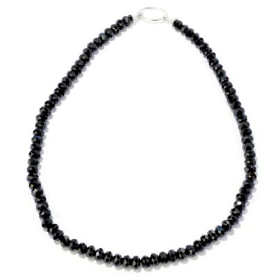 "122-336 - Gem Treasures Sterling Silver 20"" Black Spinel Necklace"