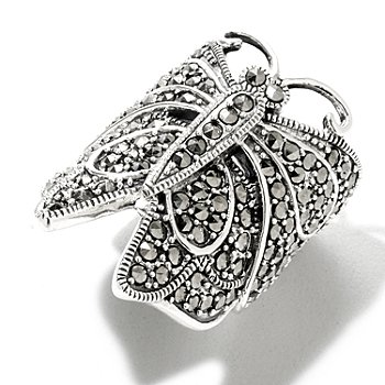 122-348 - Gem Treasures Sterling Silver Marcasite Butterfly Wrap Ring