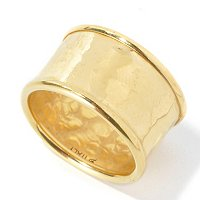 BRONZE/18KGP RING HIGH-POLISHED MARTELLATO CIGAR BAND