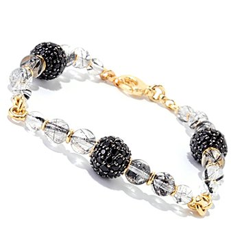 122-360 - Omar Torres Pave Black Spinel & Tourmalinated Quartz Bracelet
