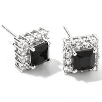 SS PRINC BLK SPINEL AND WHT TOPAZ STUDS