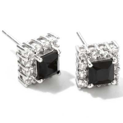122-372 - Gem Treasures Sterling Silver 2.28ctw White Topaz & Black Spinel Earrings