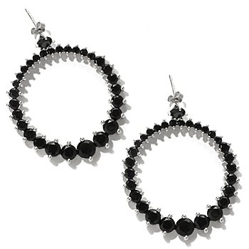 122-374 - Gem Treasures Sterling Silver 17.29ctw Black Spinel Circle Earrings