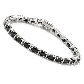 122-376 - Gem Treasures Sterling Silver Oval Black Spinel Bracelet