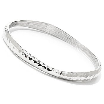 122-380 - Charles Garnier Sterling Silver 8'' Electroform Slip-on Bangle Bracelet