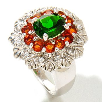 122-394 - Gem Insider Sterling Silver 1.88ctw Chrome Diopside & Multi Gemstone Ring