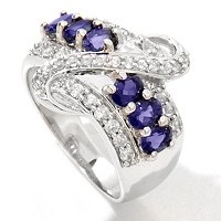 SS IOLITE AND ZIRCON BAND